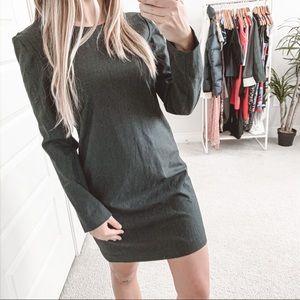 Theory Wool Long Sleeve Shift Dress Dark Grey